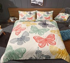 Butterflies Bedding Set Pillow Shams, Pillow Cases, Pillows, Butterfly Bedding Set, Bed In A Bag, Cotton Duvet, Gifts For Teens, Clean Design, Bed Design