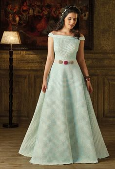 Shop pastel blue art silk stylish evening gown , freeshipping all over the world , Item code Long Gown Dress, Frock Dress, Designer Evening Gowns, Designer Gowns, Stylish Dresses, Fashion Dresses, Stylish Gown, Indian Gowns Dresses, Prom Dresses
