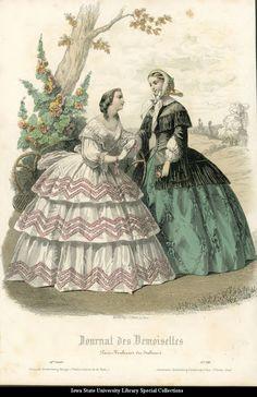 Day dresses, 1856 France, Le Petit Courrier des Dames