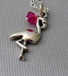 Flamingo Necklace Pink Flamingo Flamingo by pinkingedgedesigns