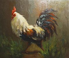 Rooster Oil Paintings   rooster painting, apalette knife paintings reproduction, we never sell ...