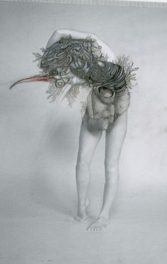 graphite and fine liner on photograph by Joletta Thorburn