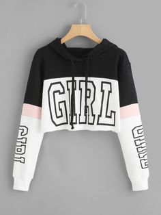 Harajuku Hoodies Sweatshirt Women Streetwear Letter Crop Top Hoodie 2018 Autumn Women Fashion Clothes Korean Moletom - Cropped - Ideas of Cropped - Crop Top Hoodie, Crop Tee, Cropped Hoodie Outfit, Crop Top Shirts, Girls Fashion Clothes, Teen Fashion Outfits, Cute Clothes For Girls, Kpop Clothes, Clothes Sale