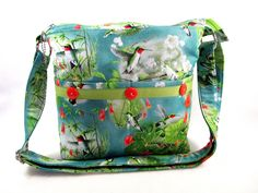 Hummingbirds Handmade Fabric Purse/Cross Body Strap/Case for Glasses by DarlingsDesigns on Etsy