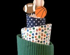 small sport themed centerpeices | Boy Sports Themed Topsy Turvy Diaper Cake - Baby Shower, Centerpiece ...