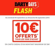 Voici revenir l'opération des Darty Days qui proposera durant une courte période un remboursement de 10€ en carte cadeau pour chaque tranche de 100€ dépensée.