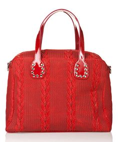 This Rosso Knit-Embossed Leather Square Satchel is perfect! #zulilyfinds