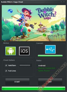 This Bubble Witch 2 Saga Cheat generate Unlimited Gold Bars, Full Lives.  To get this Bubble Witch 2 Saga hack follow link below and Download.  Make all steps form instruction and get Unlimited Gold Bars, Full Lives for free.  http://easiergame.net/bubble-witch-2-saga-cheat-hack-ios-android/