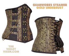 Under-bust steampunk corset with full steel boning, antique brass clasps, brass chain and strong cord lacing. Go capture your own destiny!   Because destiny doesn't make house calls...  http://thevioletvixen.com/corsets/gearworks-steamer/ #corset #steampunk #outfitoftheday