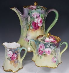 TEAPOT W CREAMER & COVERED SUGAR HAND PAINTED
