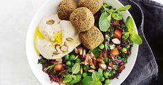 Speedy falafel and black rice tabouli bowl