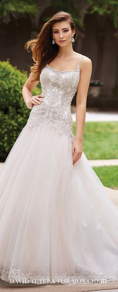 Dropped Waistline Wedding Dress by David Tutera for Mon Cheri Spring 2017