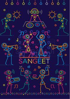 Quirky Indian Wedding Invitations - Indian Wedding Invitation Suite in Urban Warli Folk Art Sangeet Night Invitation Illustration and Design. Indian Wedding Invitation Suite Illustrated and D