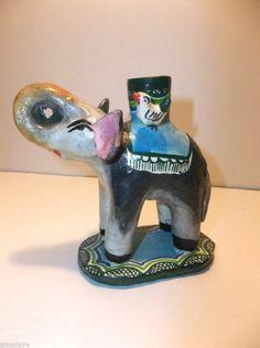 Vintage Mexican Folk Art Pottery CANDELABRA Candle Holder ELEPHANT Circus Animal