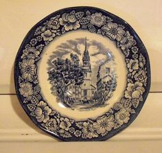 Vintage Plate Transferware Liberty Blue Historic by designfrills, $5.99