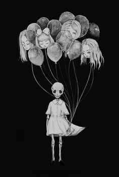 Creepy, balloons --- Had a lot of fun doing this pic! I usually save creepy pics for halloween, but honestly I love drawing them Used graphite for the lin. Art And Illustration, Art Sinistre, Ouvrages D'art, Creepy Art, Gothic Art, Horror Art, Gothic Horror, Surreal Art, Skull Art