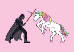 Dark Vador vs. Unicorn ! #combat #corne #sabre