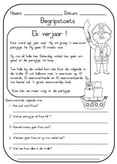 Die stories is self geskryf en uitgedink en sluit die volgende in: Ek verjaar ! Zak en Mia - Oor 2 honde Koek resep By die see Boer Ben Free Printable Alphabet Worksheets, First Grade Math Worksheets, Phonics Worksheets, Kindergarten Worksheets, Teaching Skills, Teaching Aids, Teaching Reading, Afrikaans Language, Learn English Grammar