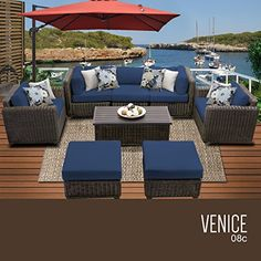 Outdoor Décor  TK Classics VeniceVENICE-08c-NAVY8 Piece Outdoor Wicker Patio Furniture Set, Navy ** This is an Amazon Associate's Pin. View the item in details on the website by clicking the image