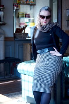 Hand made wool check skirt, refashioned from a throw.