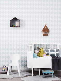 - Beautiful Harlequin Wallpaper via ferm LIVING Ferm Living Wallpaper, Kids Room Wallpaper, Harlequin Wallpaper, Rose Wallpaper, Diamond Wallpaper, Amazing Wallpaper, Baby Decor, Kids Decor, Girl Room