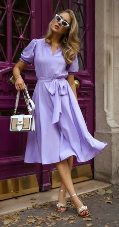 Lilac: Not Just For Summer Style // Lilac puff sleeve silk tie-waist dress and c. - Lilac: Not Just For Summer Style // Lilac puff sleeve silk tie-waist dress and circle skirt, classi - Mode Outfits, Dress Outfits, Casual Dresses, Summer Dresses, Women's Dresses, Modest Fashion, Fashion Dresses, Classy Fashion, Teen Fashion