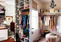 Wallpapered closets. I also like the ladder for scarves.