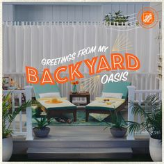 Craft a soothing seaside oasis with sleek grey Veranda composite decking. Accent the space with soft seafoam deck chairs and buttery yellow towels. Add graceful curtains for an extra dose of privacy and cabana style. Click to shop building materials and patio accessories for your backyard oasis at The Home Depot.