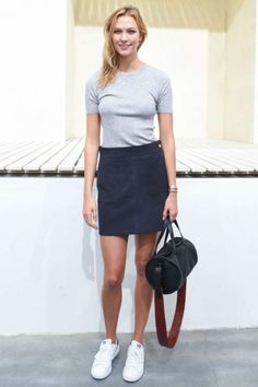Karlie Kloss wearing Adidas Originals Stan Smith Sneakers