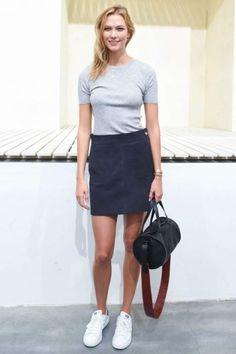 Karlie Kloss wearing Adidas Originals Stan Smith Sneakers