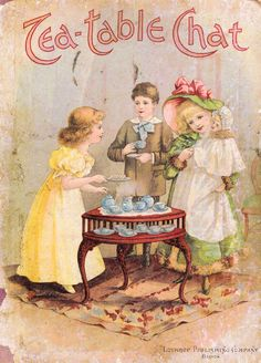 Free Clipart Antique Images: Vintage Victorian Graphic: Victorian Storybook Cover with Children at Tea Party