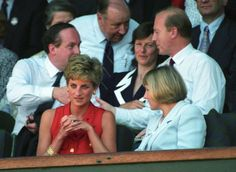 Diana and Julia Samuel at the mens final of Wimbledon Tennis Championships - July 3, 1994. Julia Samuel founded the Child Bereavement Trust UK. She was one of the godparents of prince George.