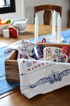 Iittala Taika mugs fits for denim and Lexington dish towel