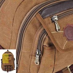 Rivets Zipper Backpack Men Travel Bags Canvas Outdoor Luggage Bag - US$36.49