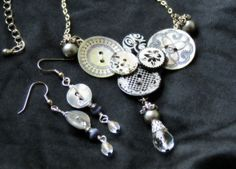 Pearl Button Necklace and Earrings...a bit on the Steam Punk side...Thanks Jeca!