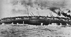 The sinking of the SMS Blücher German battle cruiser at the battle Dogger Bank in WWI.