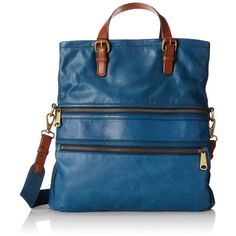 Fossil Explorer Shoulder Bag (£96) ❤ liked on Polyvore featuring bags, handbags, shoulder bags, blue purse, pocket purse, blue shoulder bag, fossil handbags and blue handbags