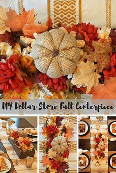 Dollar Store DIY: Fall Foliage Centerpiece + Tablescape Tips Dollar Store DIY: Fall Foliage Centerpiece + Porady Tablescape Easy Fall Crafts, Fall Diy, Diy Crafts, Dollar Store Crafts, Dollar Stores, Types Of Pumpkins, Burlap Pumpkins, Diy Centerpieces, Fall Halloween