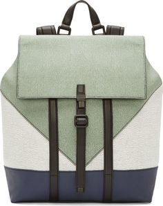 Kenzo - Sage Grained Calf Leather Colorblock Backpack