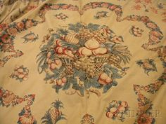 "Floral ""Broderie Perse"" Applique Bedspread 