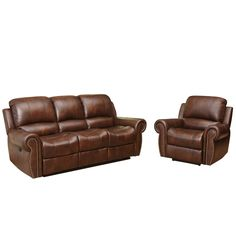 Abbyson Living Sterling Top Grain Leather Power Reclining Sofa and Armchair