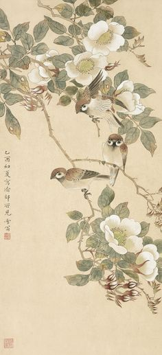 Chen Zhifo (1895-1962) Sparrows Perching by the  Camellia signed XUEWENG, dated 1945.  Ink and color on paper. Japan Painting, China Painting, Silk Painting, Painting Prints, Japanese Drawings, Japanese Art, Korean Painting, Bonsai Art, Chinese Brush