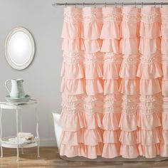 Lush Decor sells a variety of shabby chic shower curtains, such as the Kemmy Shower Curtain set online. Elegant Shower Curtains, Ruffle Shower Curtains, Shower Curtain Sets, Shabby Chic Shower Curtain, Valance Curtains, Shower Curtains Walmart, Vintage Bathroom Decor, Shower Liner, Colorful Curtains
