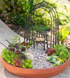 Make a charming desert landscape with a miniature succulent garden. We chose to include an arbor, a chair, a cat, and a wheelbarrow, but feel free to use whatever figurines you please.