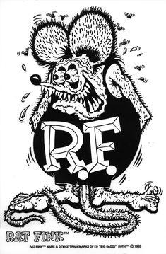 "Ed ""Big Daddy"" Roth's Rat fink Tattoo Drawings, Art Drawings, Ed Roth Art, Arte Punk, Racing Tattoos, Jdm Wallpaper, Rat Fink, Lowbrow Art, Fade To Black"