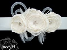 Bridal sash with ivory flowers filled with by TwistedCrystals, $162.00