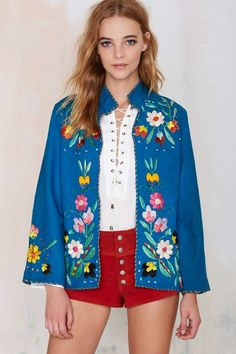 Vintage Fleurita Embroidered Jacket - Jackets + Coats | Clothes | All | Vintage