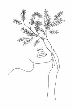 Minimal Line Art Flowers Minimalistic Poster Print Face Outline, Outline Art, Outline Drawings, Art Drawings, Line Drawing Art, Flower Art Drawing, Drawing Hair, Plant Drawing, Gesture Drawing