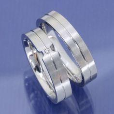 1 Paar 925 Silber Verlobungsringe Freundschaftsringe mit Zirkonia P6216774