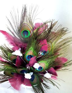 peacock colors | Sangria Wedding Cake Topper, Peacock Feathers Custom Colors
